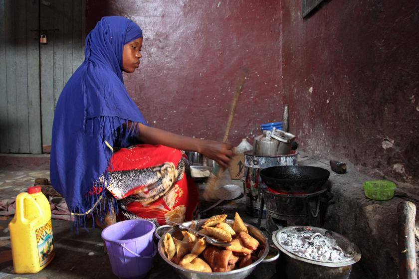 Somalian Charcoal Woman cooking